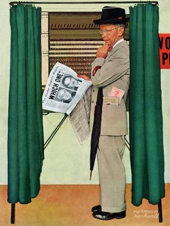 """Undecided""  November 4, 1944.  Man in voting booth w/newspaper."