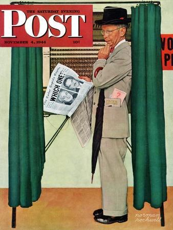 """Undecided"" Saturday Evening Post Cover, November 4, 1944.  Man in voting booth w/newspaper."