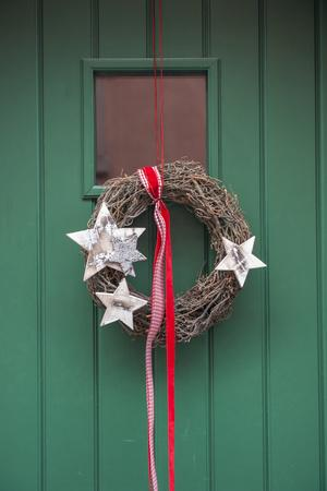 Christmas Decoration, Wreath on Front Door, Wertheim, Germany
