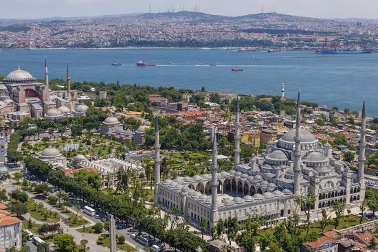 Hagia Sophia and the Blue Mosque, Aerial, Bosphorus, Istanbul, Turkey' Photographic Print - Ali Kabas | AllPosters.com