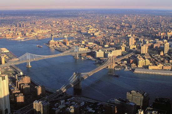 Aerial View Of Brooklyn And Manhattan Bridge New York