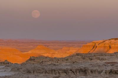 Moonrise over Rugged Landscape at Sunset, South Dakota, USA