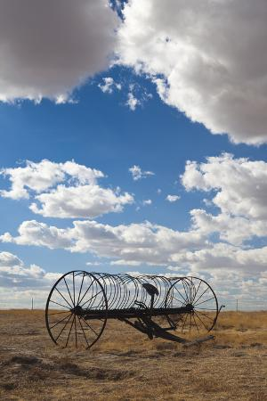 Antique Hay Raker, Prairie Homestead, Cactus Flat, South Dakota, USA
