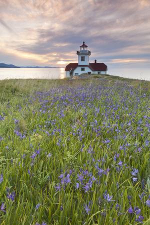 Sunset on Patos Island Lighthouse, San Juan Islands, Washington, USA