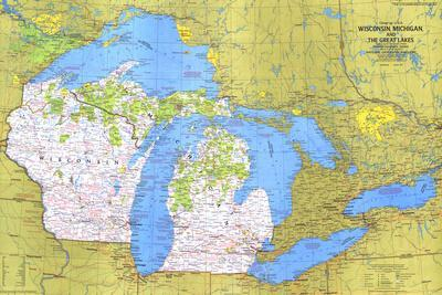 1973 Close-up USA, Wisconsin, Michigan, and the Great Lakes Map