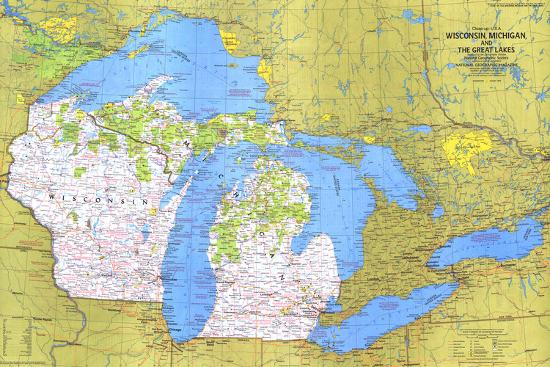 1973 Close-up USA, Wisconsin, Michigan, and the Great Lakes Map ...