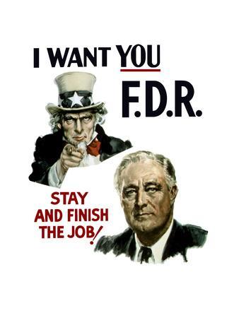 World War II Poster of Uncle Sam and President Franklin Roosevelt