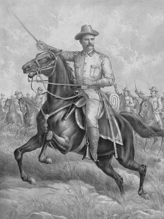 Digitally Restored Print of Colonel Theodore Roosevelt on Horseback