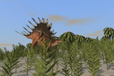 Kentrosaurus Grazing Amongst Desert Plants