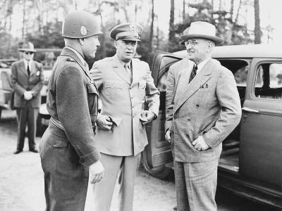 World War II Photo of President Harry Truman Talking to General Eisenhower and Hickey