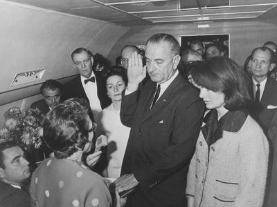 Lyndon Johnson Taking the Presidential Oath of Office