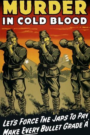 World War II Propaganda Poster of Japanese Soldiers with Raised Rifles