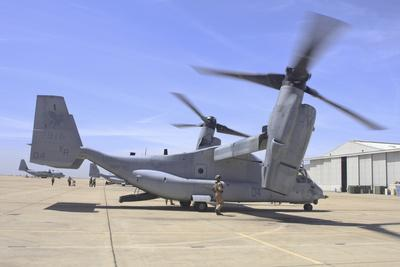 An MV-22 Osprey Taxiing at Marine Corps Air Station Miramar