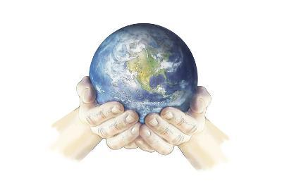 Hands Holding Planet Earth Globe, White Background