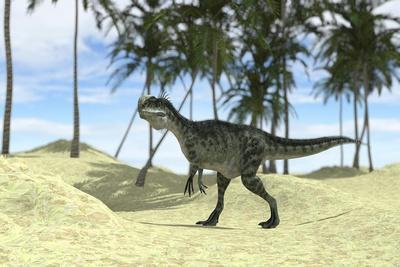 Monolophosaurus Walking in a Tropical Environment