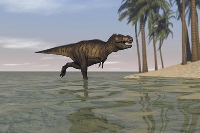 Tyrannosaurus Rex Hunting in Shallow Water