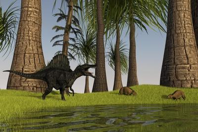 Spinosaurus Hunting Along the Edge of a Swamp While a Pair of Eurohippus Graze Nearby