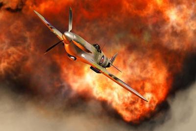 A British Supermarine Spitfire Bursting Through Explosive Flames