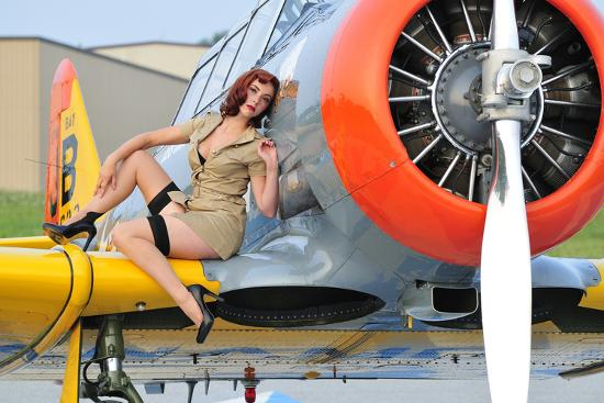 1940 S Style Pin Up Girl Posing On A T 6 Texan Training