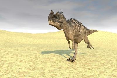 Ceratosaurus Running across a Barren Desert
