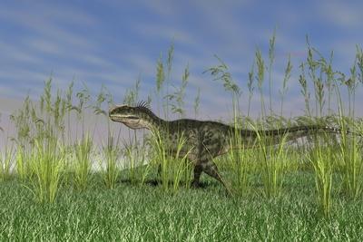 Monolophosaurus Walking Through Tall Grass