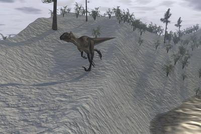 Utahraptor Running Down a Hill