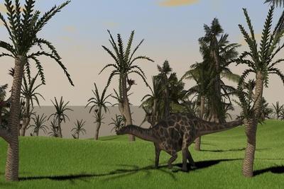 Dicraeosaurus Walking across an Open Field