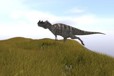 Ceratosaurus Running across a Grassy Field