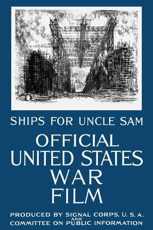 Vintage World War I Propaganda Poster Featuring a Navy Shipyard