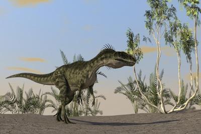 Monolophosaurus Walking across an Open Desert