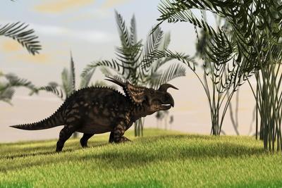 Brown Einiosaurus Walking in a Field