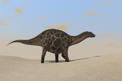 Dicraeosaurus Walking across a Barren Landscape