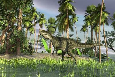 Monolophosaurus Walking Through Shallow Water