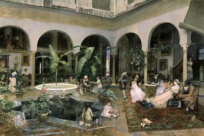Familia En Un Patio De Sevilla