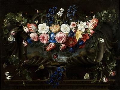 Festoon of Flowers with Cartouche Surrounding a Landscape, 1652