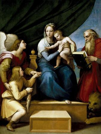 The Holy Family with Raphael, Tobias and Saint Jerome, or the Virgin with a Fish, 1513-1514