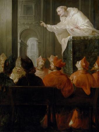 Un Religioso Mercedario Predicando a Cardenales Y Obispos