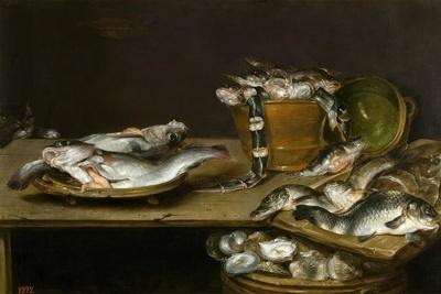 Still Life with Fish, Oysters and a Cat