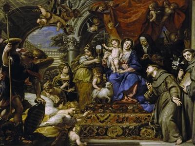 La Virgen Con El Niño Entre Las Virtudes Teologales Y Santos, 1669