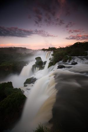 A Dramatic Sunset over Iguazu Falls