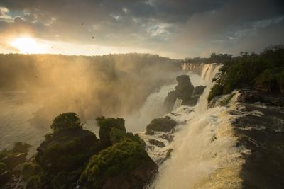 Iguazu Falls at Sunset with Salto Mbigua in the Foreground