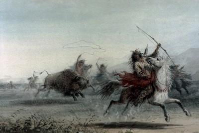 American Indians on Bison Hunt