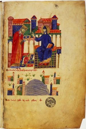 Abbot of Montecassino, of fers Saint Benedict a Manuscript