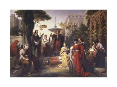 First Day of the Decameron (Author Boccaccio Is on Left in Red Cape)
