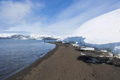 Volcanic Beach in Front of the Glacier Ice of Deception Island