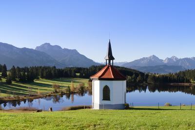 Chapel at Hergratsrieder See Lake with Allgau Alps