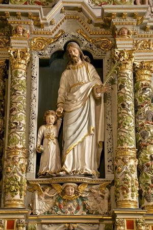 Retable in the Rosary Detail Dating from the 17th Century Showing St. Joseph and Child