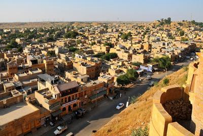 View from the Fortifications, Jaisalmer, Rajasthan, India, Asia