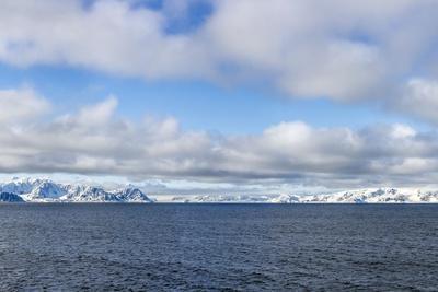 Panoramic View of Signehamna, Krossfjord, Spitsbergen, Svalbard, Norway, Scandinavia, Europe