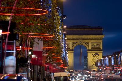 Champs Elysees and Arc De Triomphe at Dusk, Paris, France, Europe